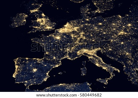City lights on world map. Europe. Elements of this image are furnished by NASA Royalty-Free Stock Photo #580449682
