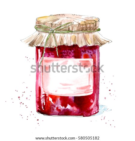 Glass jar with jam. Cranberry dessert. Watercolor hand drawn illustration