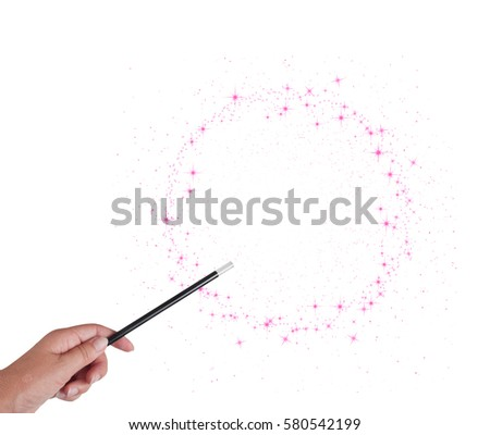 Magic wand in woman's hand with pink stars circle isolated on white background. With copy space. Make wishes come true. #580542199