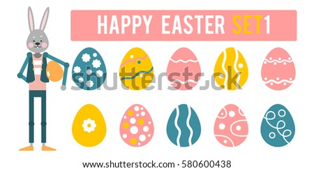 Happy Easter. Cartoon rabbit presents a different set of eggs. Vector illustration in flat style. #580600438