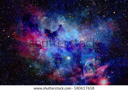 Galaxy and nebula. Elements of this Image Furnished by NASA Royalty-Free Stock Photo #580617658