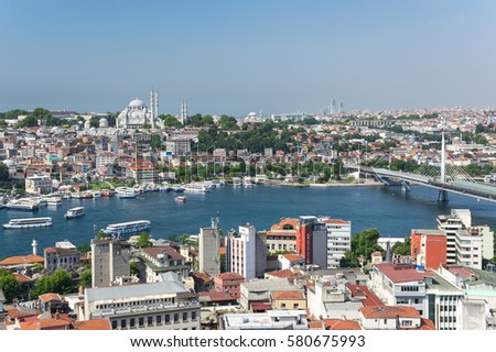 Panoramic view of Istanbul and Golden Horn from Galata tower, Turkey #580675993