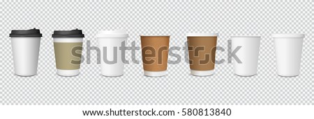 Set of paper Coffee Cups on transparent background. Collection 3d Coffee Cup Mockup. Vector Template #580813840