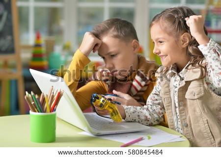 boy and girl playing  #580845484