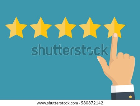 Customer review concept. Vector. Rating golden stars. Feedback, reputation and quality concept. Hand pointing, finger pointing to five star rating.  #580872142