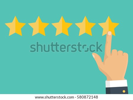 Customer review concept. Vector. Rating golden stars. Feedback, reputation and quality concept. Hand pointing, finger pointing to five star rating.  #580872148