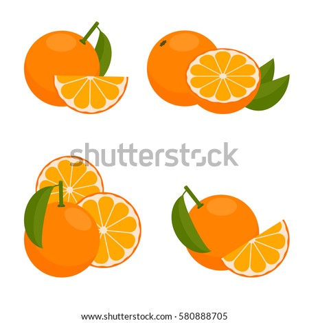 The Icon Is Orange. Set with whole fruit and a half, with leaves and without. Vector illustration in a flat style. #580888705