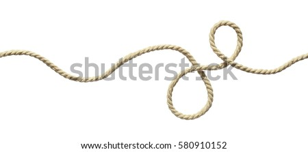 White wavy rope isolated on white. Seamless pattern. Royalty-Free Stock Photo #580910152