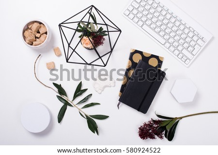 White feminine tabletop flatlay #580924522