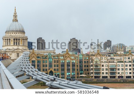 St Paul's cathedral and London cityscape, UK #581036548