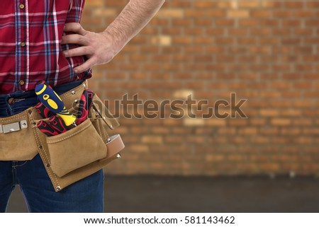 closeup of the worker with tools belt #581143462