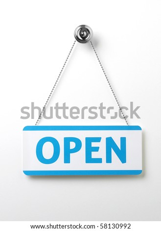a process blue open door sign on a silver chain on a white background