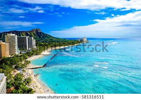 Waikiki Beach and Diamond Head, Honolulu, Oahu Island, Hawaii