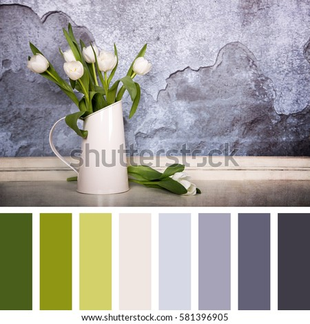 A tin jug filled with white tulips, over old plaster wall with grunge texture.In a colour palette with complimentary colour swatches.