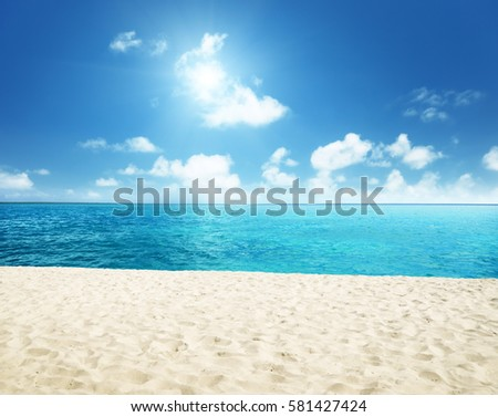 sunny tropical beach and perfect sky #581427424
