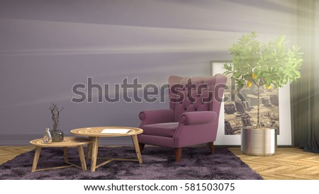 interior with chair. 3d illustration #581503075