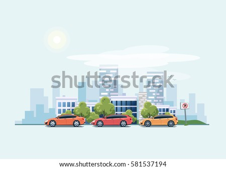 Vector illustration of modern cars parking along the town street in cartoon style. Vehicles parked on wrong place with no parking sign. City skyscrapers building office skyline on blue background.