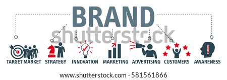 Banner brand. Keywords and pictogram Royalty-Free Stock Photo #581561866