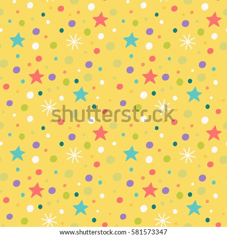 seamless pattern with snowflakes, stars and confetti.