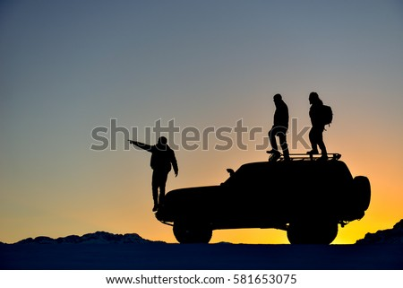 Jeep terrain with a team of adventurers #581653075