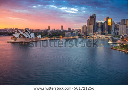 Sydney. Cityscape image of Sydney, Australia during sunrise. Royalty-Free Stock Photo #581721256