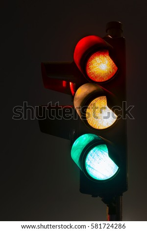 Traffic light, long exposure