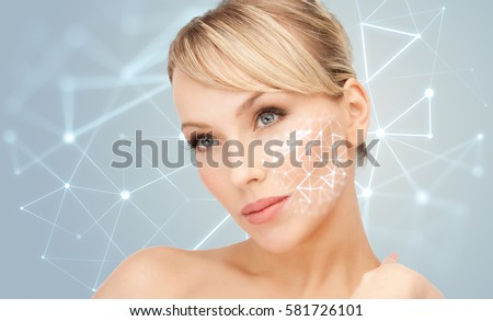 beauty, people, skincare and plastic surgery concept - beautiful young woman over gray background with low poly projection #581726101