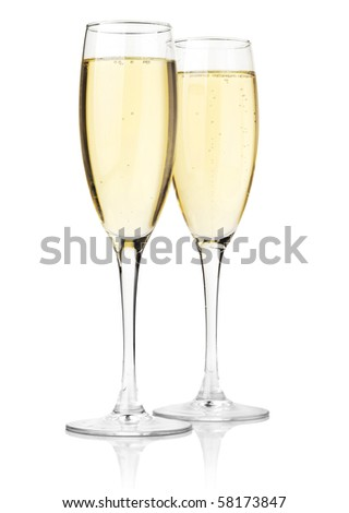 Two glasses of champagne. Isolated on white background #58173847