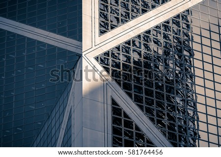 windows of commercial building in Central, Hong Kong at Feb 2017 #581764456