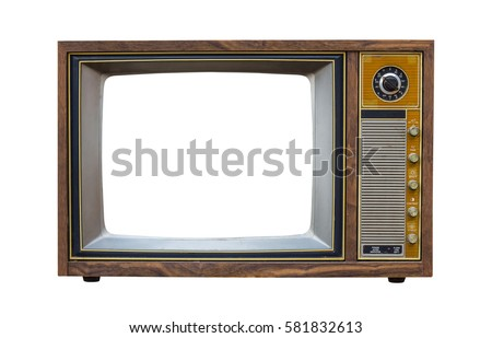 Vintage television with cut out screen on Isolated background Royalty-Free Stock Photo #581832613