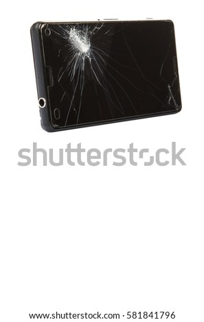 Smart phone with selective focus on the broken screen over white background #581841796