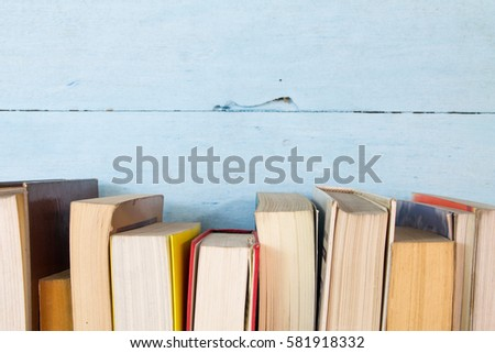 Old book on the blue shelf #581918332