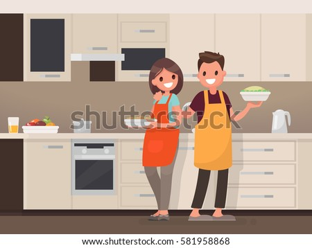 Husband and wife are preparing together. Man and woman in the kitchen. Vector illustration in a flat style #581958868