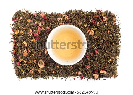 Tea leaves on a white background #582148990