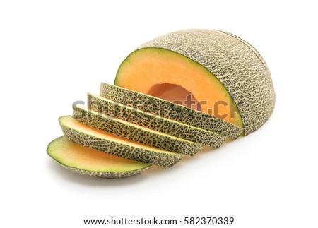 cantaloupe melon on white background #582370339