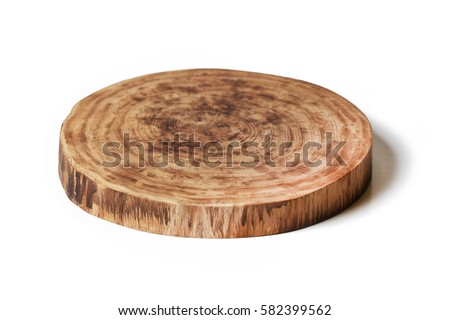wooden round empty cutting board isolated on white background #582399562