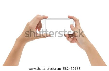 hand holding mock up phone mobile isolated on white background #582430168
