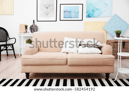 Sofa in modern room interior #582454192