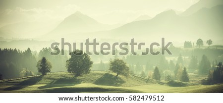Vintage landscape with trees on hills and beautiful mountains in distance. Retro film filter #582479512