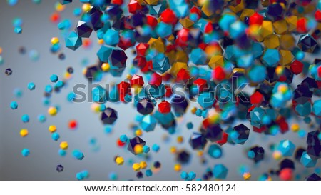 3D abstract colorful platonic composition, background, rendering
