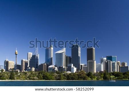 sydney australia city central business district view from royal botanic garden over bay blue skyline