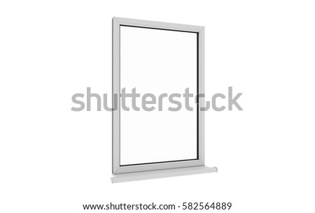 Window. Isolated window. Aluminum , White, Pvc window. 3d. 3D render. #582564889