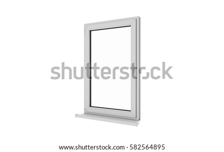 Window. Isolated window. Aluminum , White, Pvc window. 3d. 3D render. #582564895
