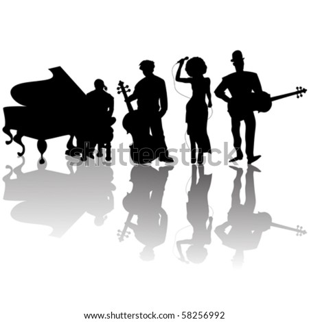 Jazz players silhouettes against white background #58256992