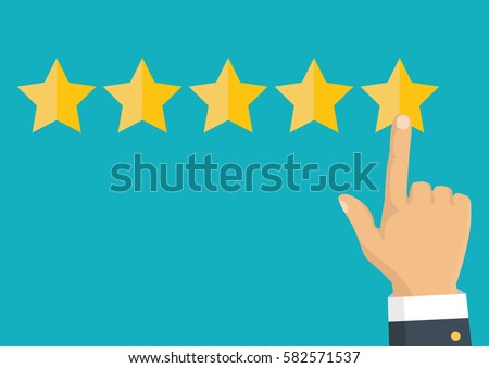 Customer review concept. Vector. Rating golden stars. Feedback, reputation and quality concept. Hand pointing, finger pointing to five star rating.  #582571537