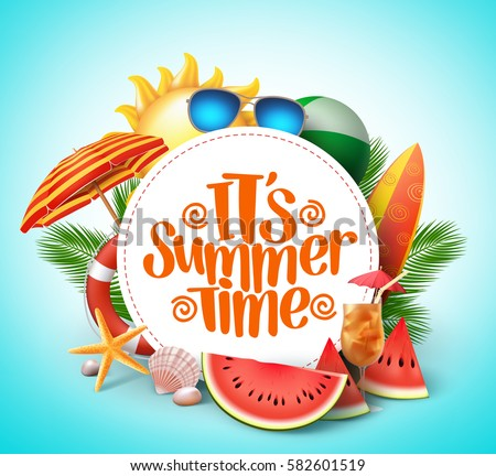 Summer time vector banner design with white circle for text and colorful beach elements in white background. Vector illustration.  Royalty-Free Stock Photo #582601519