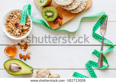 Healthy organic food on white background, top view #582713008