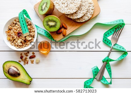 Healthy organic food on white background, top view #582713023