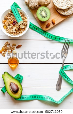 Healthy organic food on white background, top view #582713050