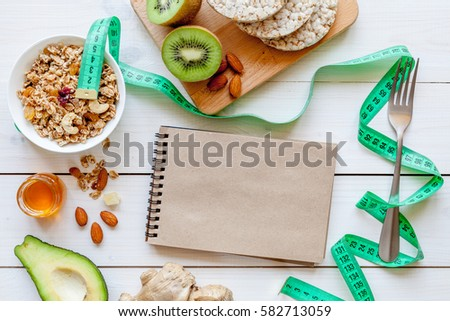 Healthy organic food on white background, top view #582713059